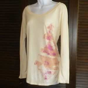 Free People Ivory Boat Neck Shirt Pink Triangles M